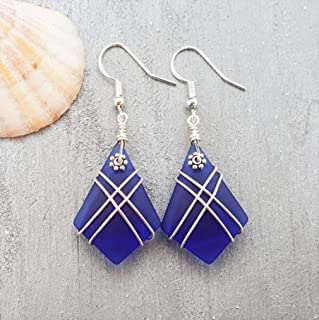 "product image for Handmade in Hawaii, Cobalt""Cross net"" wire wrap Diamond shape sea glass earrings,""September Birthstone"", (Hawaii Gift Wrapped, Customizable Gift Message)"