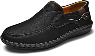 Phefee Męskie wygodne lekkie okrągłe buty dla mężczyzn skórzane mokasyny płaskie mokasyny antypoślizgowe szersze buty do c...