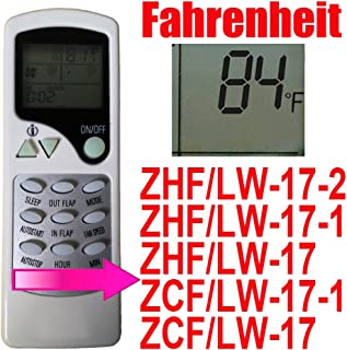 Replacement for QUIETSIDE Air Conditioner Remote Control Model Number: ZHF/LW-17-1 ZHF/LW-17 (Dispaly in Fahrenheit)