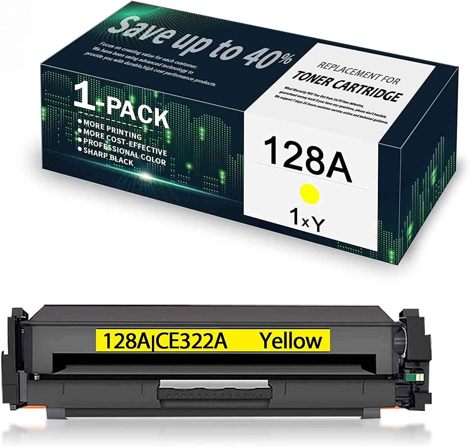1-Pack Yellow Ranking TOP8 128A CE322A Max 60% OFF Toner Remanufactured Ca Compatible