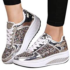 e7ca45d6e62 NEWONESUN Clearance Sale Chunky Sneakers for Women Thick Wedg .