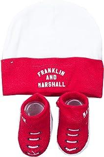 Franklin & Marshall, Baby Todder - Juego de sombreros y botines (0-6 meses), color rojo y blanco