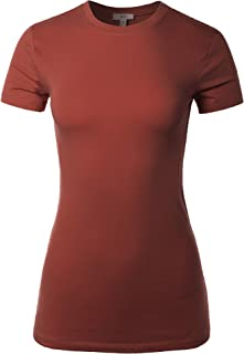 A2Y Women's Junior Fit Basic Solid Cotton Short Sleeve Crew Neck T Shirt Tee Tops