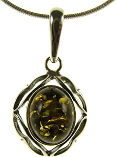 Ciondolo pendente donna in ambra naturale baltica e argento 925 (senza catena)