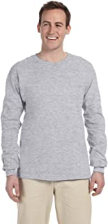 Fruit of the Loom Adult 5 oz HD Cotton Long-Sleeve T-Shirt - ATHLETIC HEATHER - L - (Style # 4930 - Original Label)