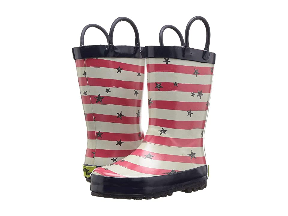 Western Chief Kids Limited Edition Printed Rain Boots (Toddler/Little Kid) (Stars and Stripes Navy) Girls Shoes