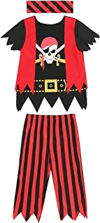 Boys Girls Pirate Costume 3pcs Set for Size 3-4,5-6,7-8,8-10