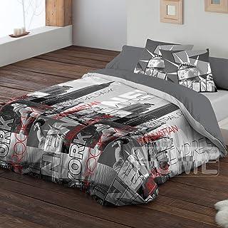 Pierre Cardin - Funda nórdica, bajera y almohadón Nueva York. 150 cm. (240x220) Fácil planchado.