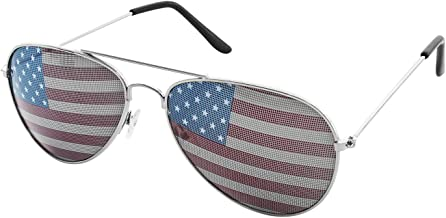 Super Z Outlet American USA Flag Design Metal Frame Aviator Unisex Sunglasses with Print Patterned Lens for Sun Protection, Driving, Eye Wear