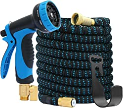 """Expandable Garden Hose 100FT&Garden Hose 10 Function Spray Hose Nozzle 3-Layers Latex,3/4"""" Solid Brass Connectors,Extra St..."""