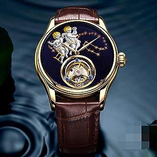 HKX - Reloj Reloj de Moda Automático Reloj Mecánico para Hombre, Reloj de Dragón Hueco, Correa de Cuero, (Masculino y Femenino), Dorado