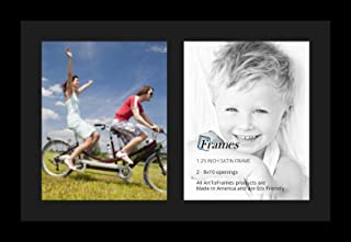 ArtToFrames Collage Photo Frame Single Mat with 2-8x10 Openings with Satin Black Frame and Black mat.