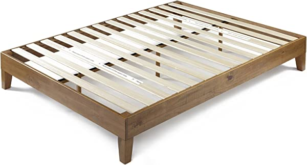 Zinus Alexis 12 Inch Deluxe Wood Platform Bed No Box Spring Needed Wood Slat Support Rustic Pine Finish King