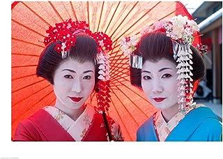 Geishas with Umbrellas Art Print, 43 x 32 inches