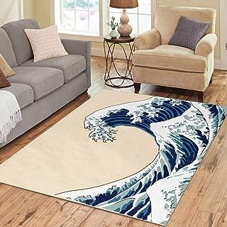 INTERESTPRINT Sweet Home Stores Collection Custom Great Wave Off Kanagawa Hokusai? Area Rug 7'x5' Indoor Soft Carpet