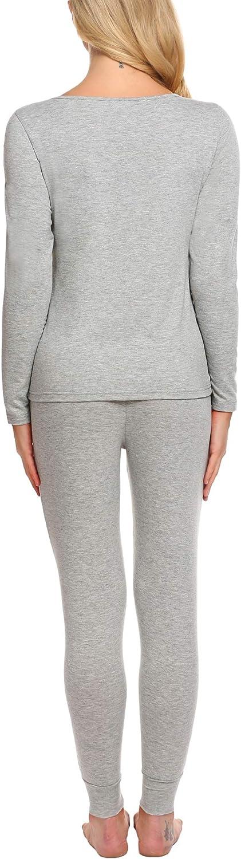 Thermounterwäsche Damen Set Lange Thermo Pyjama Unterwäsche Schlafanzug Winter Zweiteiliger Nachtwäsche Rundhalsausschnitt Spitze Grau 8002_grau