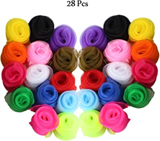 DerKit 28pcs Square Silk Juggling Scarves for Beginners Magic Tricks Musical Performance Props Accessories 24 by 24 Inch