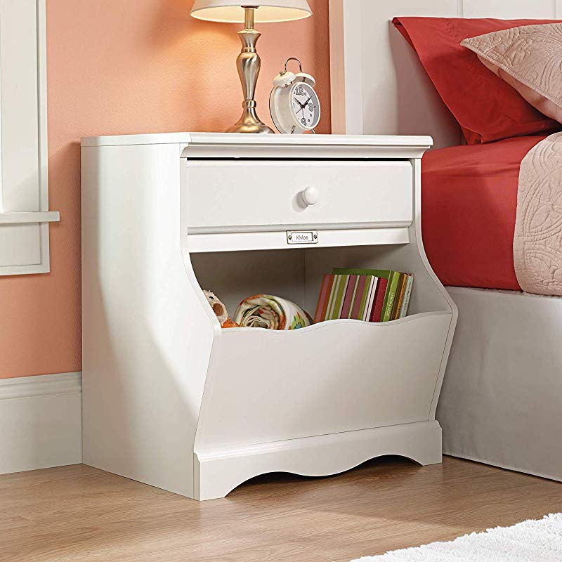 Kids White Nightstand For Bedrooms Children S Bedside Table With Storage Bin And Drawer Girls Night Stand Side Table Furniture For Nursery Room