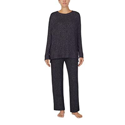 Donna Karan Sweater Knit Sleepwear Top (Black Marl) Women