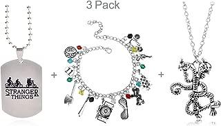 3 Pack Stranger Things Themed Charms Bracelet + Pendant Necklaces Eleven Demogorgon