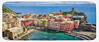 Lunarable Italy Kitchen Mat, Harbor View in The Vernazza Village in Cinque Terre Colorful Apartments and Boats, Plush Decorative Kithcen Mat with Non Slip Backing, 47