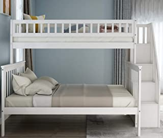FLIEKS Twin Over Full Bunk Beds Frame for Kids, Solid Wood Bunks Bed with Storage, Safety Rail and Stair Loft (White)