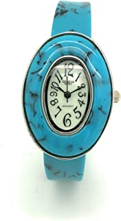 Ladies Oval Turquoise Acrylic Bangle Cuff Fashion Watch Pearl Dial