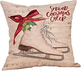 Unionm 100# Pillow Covers Christmas Decor Throw Pillow Case Linen Blend Beige Christmas Tree Car Merry Christmas Theme Square 45 x 45 cm 18 x 18 inch Cushion Cover for Home Sofa Car 1 Pack - 13
