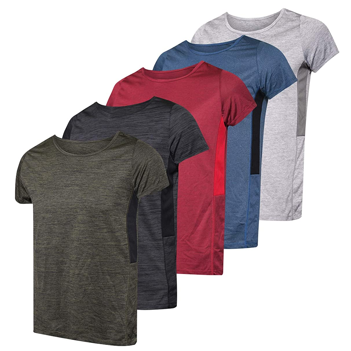 5-Pack Women's Short-Sleeve Crew Neck T-Shirt Dry-Fit Athletic Performance Yoga Activewear Workout Top