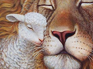 Canvas Prints - the lion and the lamb Oil Painting On Canvas Modern Wall Art Pictures For Home Decoration (20X20 Inch, Framed)