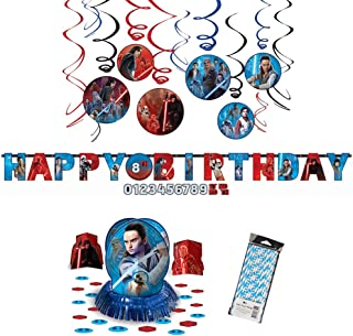Star Wars Episode 8 | The Last Jedi Party Supplies Decoration Pack | Straws, Hanging Swirls, Table Decorating Kit, and Jumbo Letter Banner | Perfect Stars Wars Party Supplies For Your Jedi Birthday Party