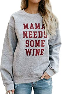 Wine Shirts for Women Funny Mama Needs Some Wine Letters Casual Pullover Tops with Saying Funny