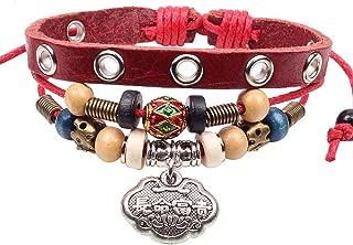 Winter's Secret National Features Longevity Lock Pendant 3 Row Wine Red Leather Alloy Wrist Bracelet