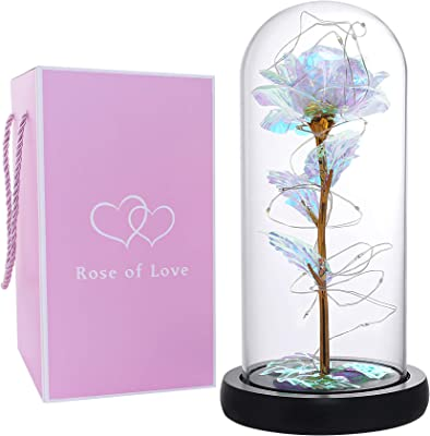 Galaxy Rose Artificial Colorful Rose Flower Beauty and The Beast Rose with Led Lights in The Dome Glass Unique Gift for Valentine's Day Mother's Day Wedding Anniversary and Girl's Birthday