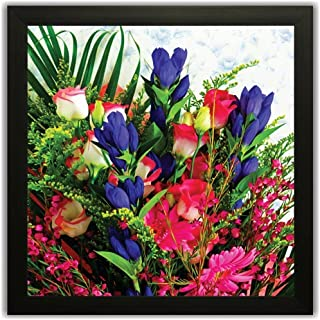 PRINTELLIGENT Exclusive Framed Wall Art Paintings of Flowers - Frame Size (10 inch x 10 inch - Synthetic, 30 cm x 3 cm x 3...