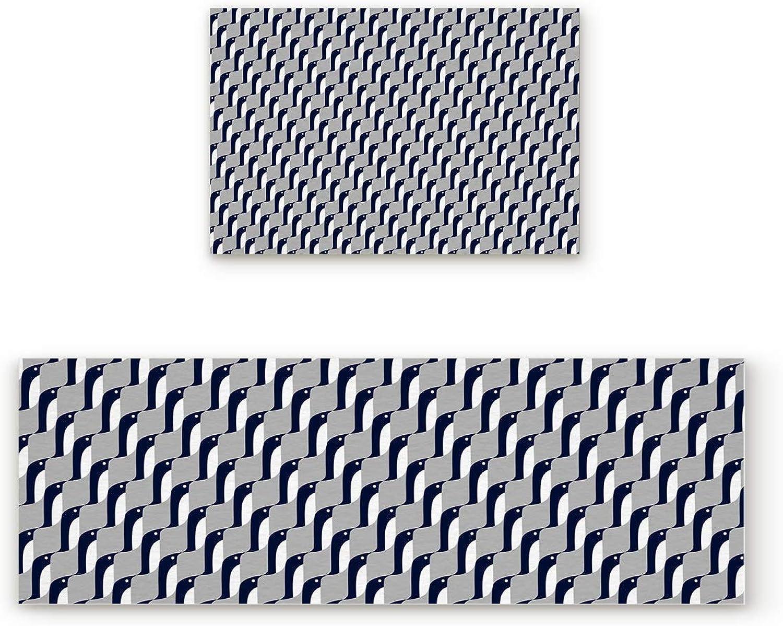 Fantasy Star Kitchen Rugs Sets 2 Piece Floor Mats Geometric Pattern Penguin Doormat Non-Slip Rubber Backing Area Rugs Washable Carpet Inside Door Mat Pad Sets (19.7  x 31.5 +19.7  x 63 )