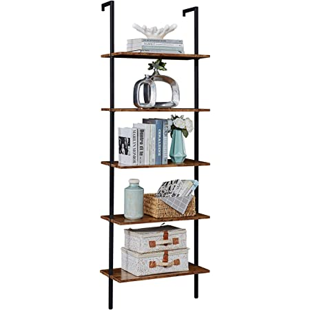 Amazon Com Nathan James Theo 5 Shelf Rustic Wood Modern Bookcase Open Wall Mount Ladder Bookshelf With Industrial Metal Frame Warm Walnut Black Furniture Decor