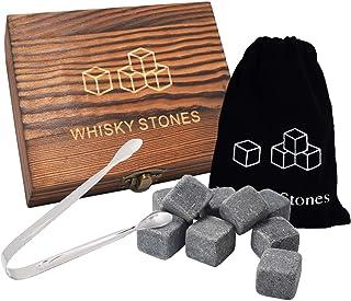 Quazilli Whiskey Steine Set-9 Stück Eiswürfel Wiederverwendbar Gin-Whisky Steine Marmor-Holzbox Whiskey Zubehör Geschenkset