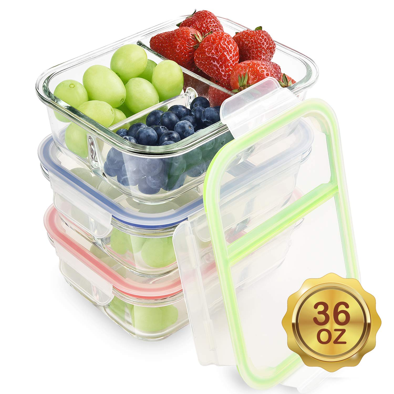 3 Pack 36oz Glass Containers Compartment