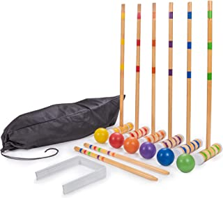Crown Sporting Goods Six-Player Travel Croquet Set with Drawstring Bag | Family-Sized Set of 6 Wooden Mallets, 6 Colored Balls, 9 Wickets, 2 Stakes | Classic Family Yard, Lawn, Outdoor Games