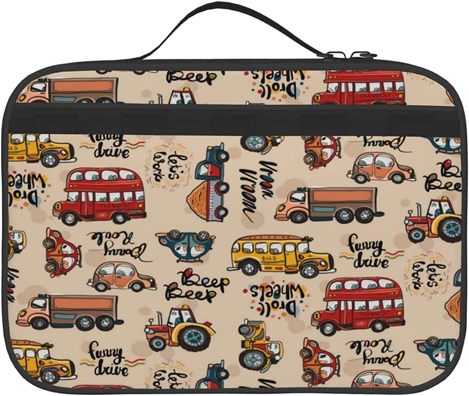 Vehicle Pattern Two-Side Printed Max 69% OFF Insulated Atlanta Mall For Bag Outdoor Lunch