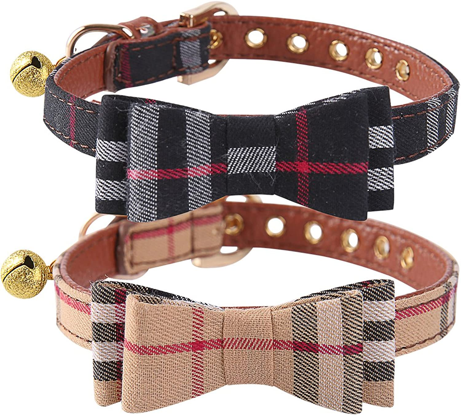 PUPTECK 2 pcs Set Adjustable Bowtie Small Dog Collar with Bell Charm XS