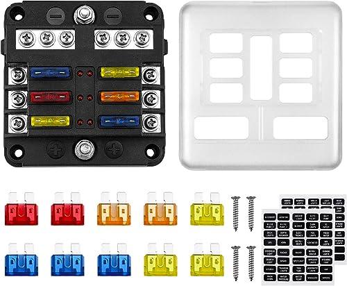 Kohree 6 Voies Boîte Fusibles 12V Porte Fusible ATO 32V 100A avec 10 Fusibles 6 Voyants LED Couvercle de Protection +...