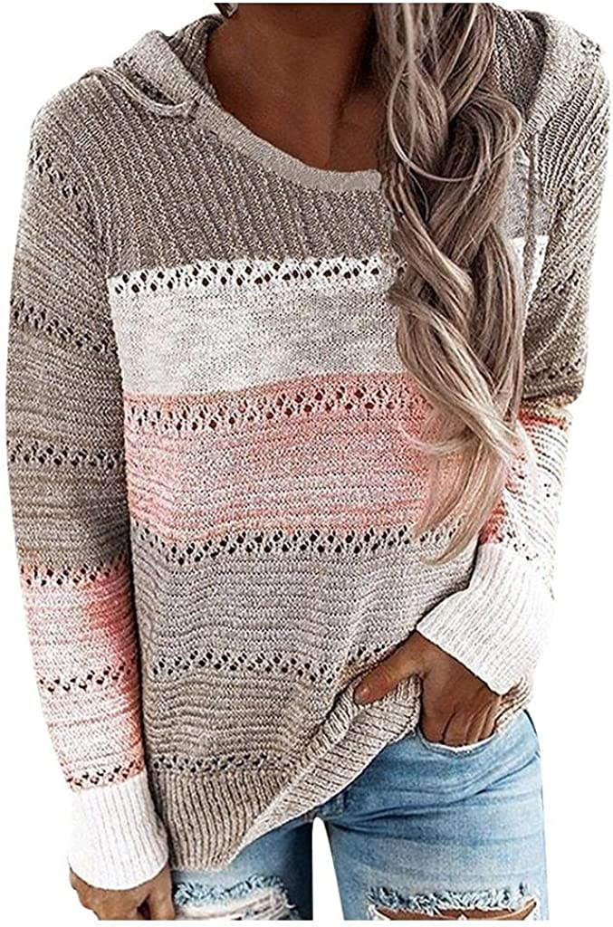 AODONG Women's Long Sleeve Color Block Tunics Fashion V Neck Tops Drawstring Casual Loose Pullover Hoodies Sweatshirts