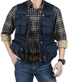 EKLENTSON Men's Quick Dry Breathable Outdoor Travel Photography Journalist Fishing Vest Jacket with 16 Pockets