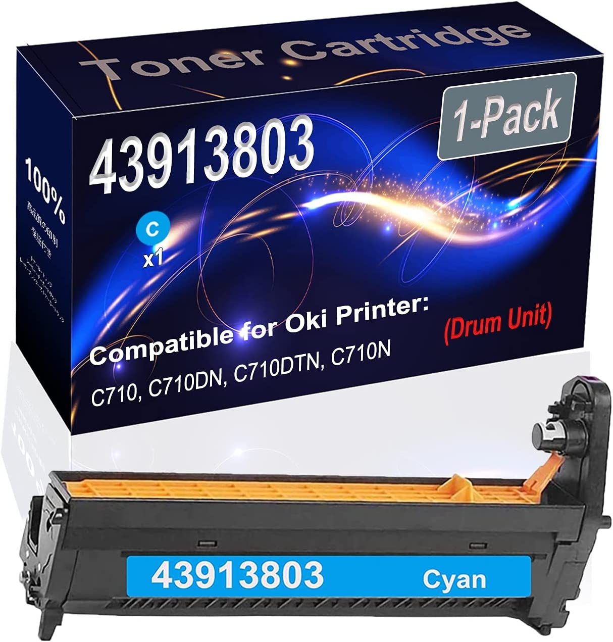 Compatible Drum Unit Replacement for 1-Pack (Cyan) Oki 43913803 Drum Unit Fit for Oki C710, C710DN, C710DTN, C710N Printer (High Capacity)