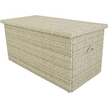 Baúl para Exterior, Tamaño: 132x68x62 cm, Aluminio y rattán sintético Color Blanco Natural, Almacenamiento para Exterior, Arcón de jardín: Amazon.es: Jardín