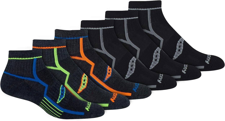 Saucony Men's Multi-Pack Bolt Performance Quarter Socks