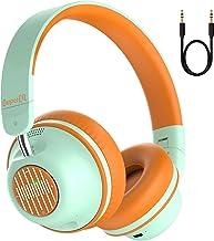 Active Noise Cancelling Headphones-SuperEQ S2 Bluetooth on هدفون گوش با CVC 8.0 Mic، Deep Bass، 25H Playtime، 40mm Drivers، Memory Foam Ear Cups for Travel Online Class Class Office (Green Orange)
