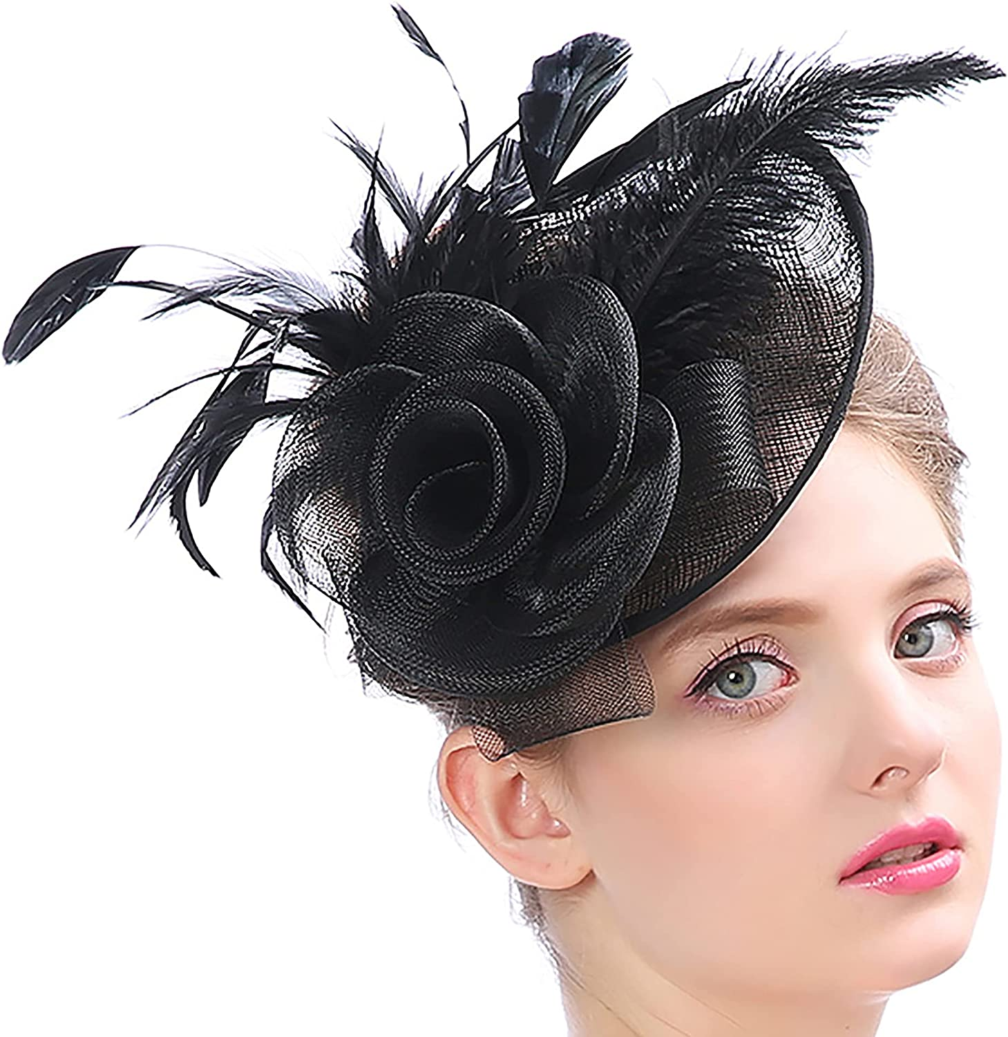 Women Fascinators Hat Sinamay Feathers Kentucky Derby Hat with Hair Clip Fascinator Hat for Tea Party Wedding Cocktail Ball